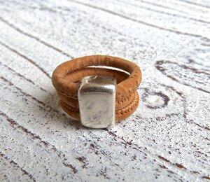 Damen Ring aus Kork in natur beige Zamak - Charme-charmant
