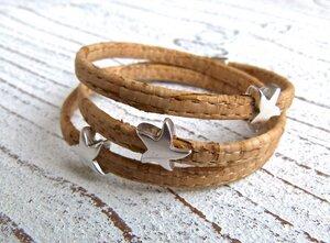 Damen Wickelarmband aus Kork in natur mit Seesternen - Charme-charmant