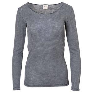 Wolle Seide Langarmshirt - dunkelblau geringelt - People Wear Organic