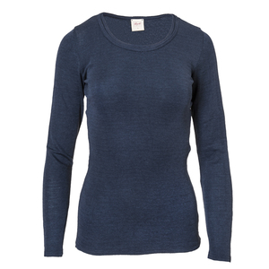 Wolle Seide Langarmshirt - dunkelblau - People Wear Organic