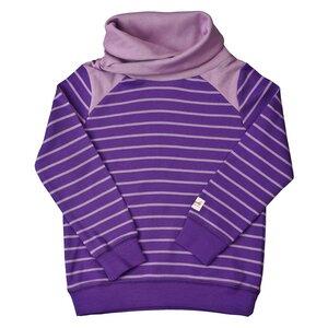 Sweatshirt - dunkel violett geringelt - People Wear Organic