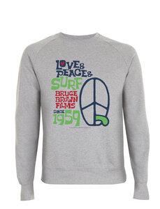 Bruce Brown Films 1959 Love & Peace & Surf Grafik Sweat Shirt Pullover - California Black Plate