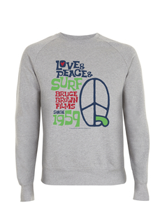 Bruce Brown Films 1959 Love & Peace & Surf Grafik Sweat Shirt Pullover - California Black Plate