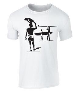 THE ENDLESS SUMMER - Silhouette Grafik Unisex T-Shirt - offiziell lizenziert von Bruce Brown Films, S - XXL - California Black Plate