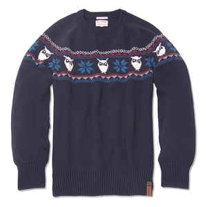 Eule Pullover blau - KnowledgeCotton Apparel