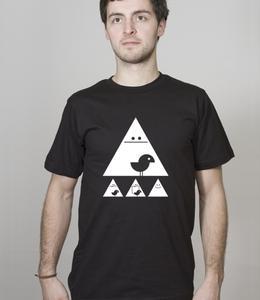 Shirt Men Black 'Achtung Birdy!' white - SILBERFISCHER