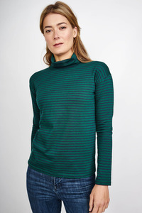 Sabrina Striped Polo Neck T - bibico