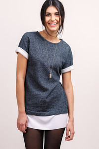 Longpullover Sweater aus Bio-Baumwolle - l'amour est bleu