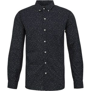 Shirt - LAB - Hemd in dunkelblau mit overall Print - KnowledgeCotton Apparel