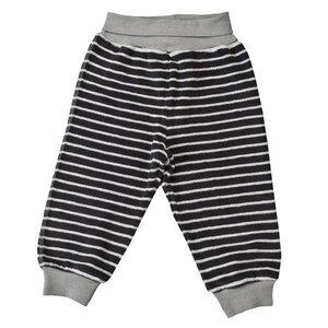 Frottee Babyhose - dunkel grau geringelt - People Wear Organic