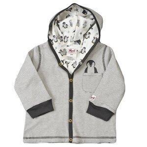 Wendejacke mit Kapuze - grau geringelt - People Wear Organic