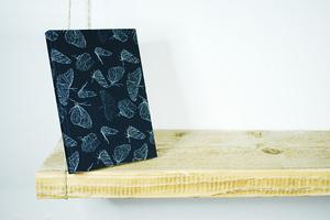A5 Notizbuch, Skizzenbuch, 100% Bio-Baumwolle, 'Butterfly Black' - Biostoffe Berlin by Julie Cocon