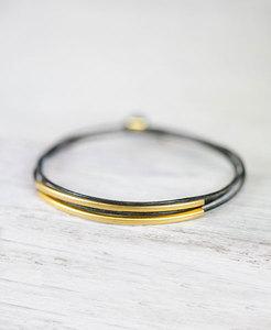 """pikfine Leder Tube Armband """"Tingval"""" // Graugrün gold oder silber - pikfine"""