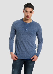 MOR-4067 HERREN GARMENT DYED LANGARM T-SHIRT - ORGANICATION