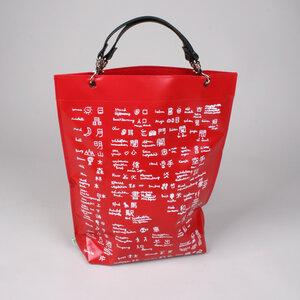 Henkeltasche aus LKW-Plane 'Schriftzeichen' rot - werkstatt-design