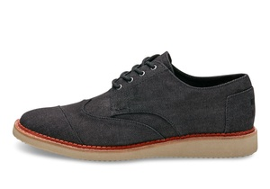 Black Denim Brogues - Toms