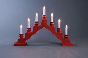 Trendiger Schwedenleuchter - für Ihr Wohnambiente -rot Lichterbogen  - Weigla® Holzkunst