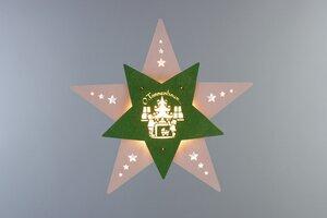"""Das Fensterbild Stern """"Oh Tannenbaum""""  mit LED Beleuchtung wunderschön - Weigla® Holzkunst"""