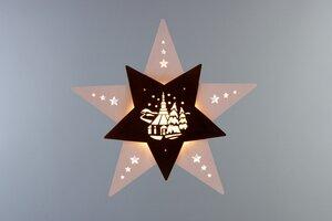 """Das Fensterbild Stern """"Seiffener Kirche""""  mit LED Beleuchtung wunderschön - Weigla® Holzkunst"""