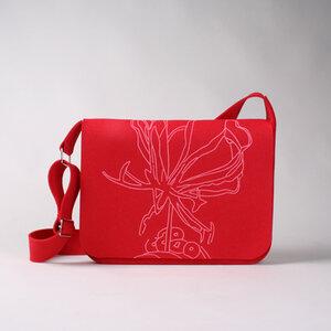 Laptoptasche 'Gloriosa/rot' groß mit Henkel - werkstatt-design