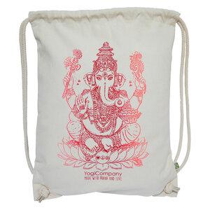 Großer Yoga Turnbeutel natur mit Ganesha rot, pink bis orange - YogiCompany