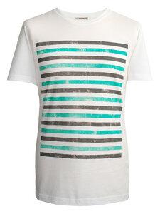GRUNGE STRIPES T-Shirt – türkis -grau: - woodlike
