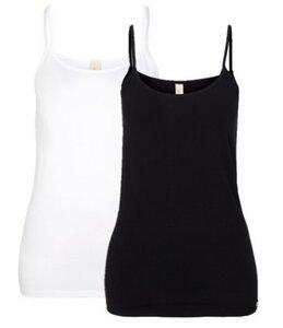 Doppelpack Unterhemd Spaghettiträger weiß/schwarz - comazo|earth