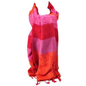 Pina - Schal/Schaltuch mit 'Yakwolle' - orange/rosa/rot gestreift  - MoreThanHip