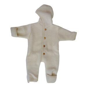 Engel Baby Fleece Overall mit Kapuze u. Holzknöpfen Schurwolle kbT - Engel natur