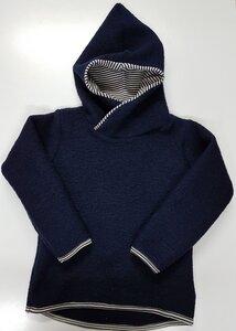 Kinder-/Baby-Kapuzenpulli aus Wollwalk/Kochwolle dunkelblau - Omilich