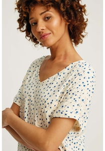 Stars Pyjama Short Sleeve Top Cream - People Tree