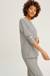 Stripe Pyjama Long Sleeve Top Navy - People Tree