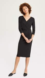 Irene Wrap Dress Black - People Tree