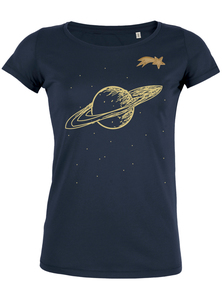 Saturn mit Sternschnuppe - T-Shirt Damen mit Holzbrosche - What about Tee