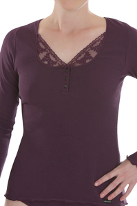 Fairtrade Shirt langarm, plum - comazo|earth