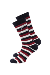Unisex Socken rot blau weiß gestreift - recolution