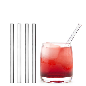HALM Trinkhalm aus Glas 15 cm 4x Glastrinkhalm + Reinigungsbürste  - HALM