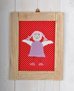Schutzengel Mädchen, Bild für das Kinderzimmer, Bild mit Bauholzrahmen - Süßstoff