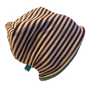 Mütze 'Line' winterfest braun/creme geringelt - bingabonga