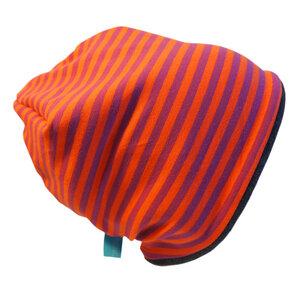 "Mütze ""Line"" winterfest lila/orange geringelt - bingabonga"
