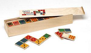 Domino 'Zahlen bunt' in edlem Holzschieber - Karthaus