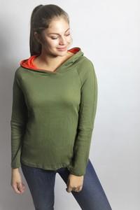 Bio Hoodie 'Racka' Struktur olive / orange, GOTS - Frija Omina