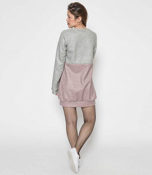 fr ulein stachelbeere langes sweatshirt kleid in grau rosa avocadostore. Black Bedroom Furniture Sets. Home Design Ideas