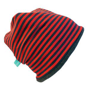 "Mütze ""Line"" winterfest marine/rot geringelt - bingabonga"