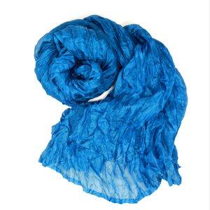 Seidenschal Crinkle azurblau - Schönes aus Indochina