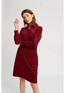 Jaden Corduroy Shirt Dress Burgundy - People Tree