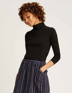Laila Roll Neck Top Black - People Tree