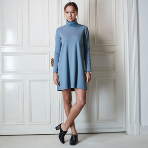 Kleid TOULOUSE RIB bluegrey  - JAN N JUNE