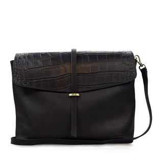 Umhängetasche - Ella - Eco Midnight Black Croco - O MY BAG