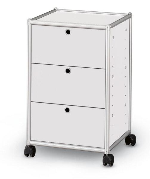Rollcontainer alu  AMS Möbelmanufaktur - alu.tec Rollcontainer mit 3 Schubladen, weiß ...